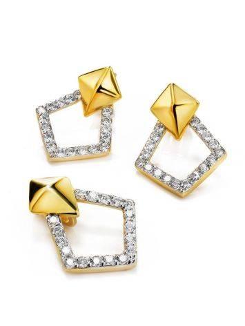 Стильные геометричные серьги с кристаллами Astro, фото , изображение 3