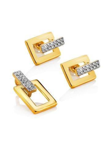 Стильные геометричные позолоченные серьги с кристаллами Astro, фото , изображение 3