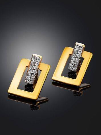 Стильные геометричные позолоченные серьги с кристаллами Astro, фото , изображение 2