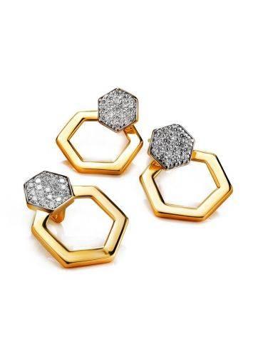Необычные позолоченные серьги с кристаллами, фото , изображение 3