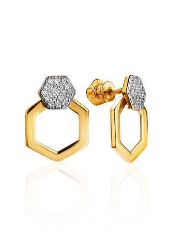 Необычные позолоченные серьги с кристаллами, фото