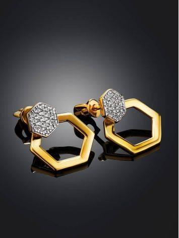 Необычные позолоченные серьги с кристаллами, фото , изображение 2