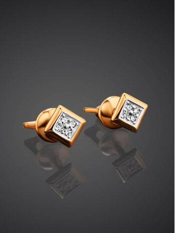 Квадратные бриллиантовые серьги-гвоздики в золоте, фото , изображение 2