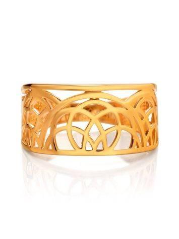 Эффектное широкое позолоченное кольцо, Размер кольца: 17.5, фото , изображение 3