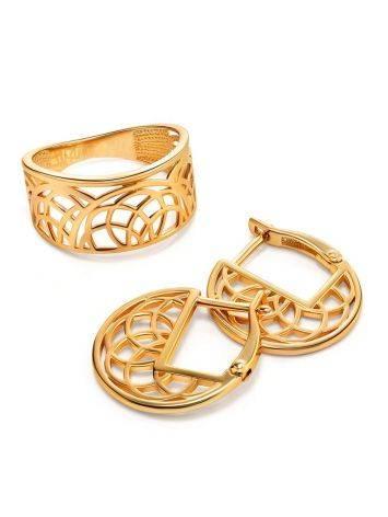 Эффектное широкое позолоченное кольцо, Размер кольца: 17.5, фото , изображение 4