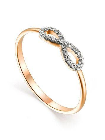 Нежное золотое кольцо с бриллиантами, Размер кольца: 16, фото