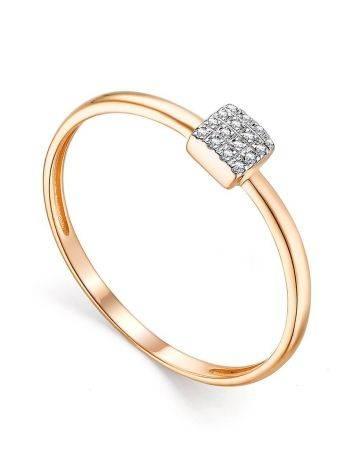 Стильное золотое кольцо с 18 бриллиантами, Размер кольца: 17.5, фото