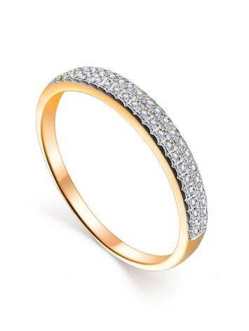 Тонкое золотое кольцо с двумя рядами бриллиантов, Размер кольца: 17, фото