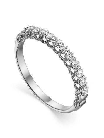 Стильное кольцо из белого золота с бриллиантами, Размер кольца: 16.5, фото