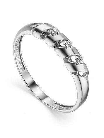 Бриллиантовое кольцо в белом золоте, Размер кольца: 16.5, фото