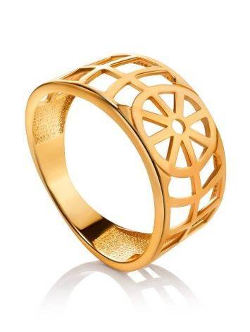 Широкое геометричное позолоченное кольцо, Размер кольца: 17, фото