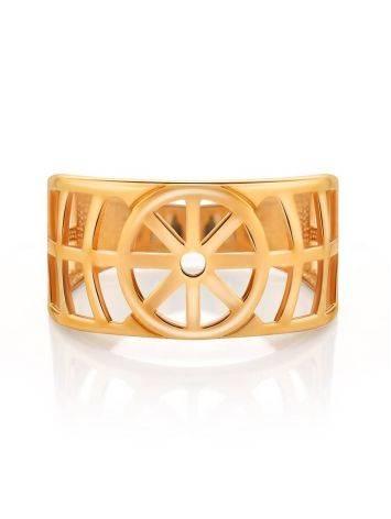 Широкое геометричное позолоченное кольцо, Размер кольца: 17, фото , изображение 3