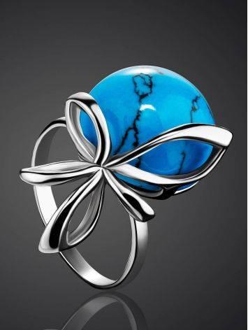 Яркое кольцо из серебра с бирюзой «Черри», Размер кольца: 17, фото , изображение 2