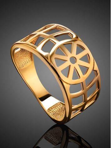Широкое геометричное позолоченное кольцо, Размер кольца: 17, фото , изображение 2
