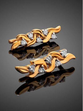 Нежные позолоченные серьги с фианитами, фото , изображение 2