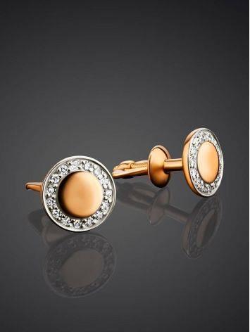 Круглые золотые серьги-гвоздики с бриллиантами, фото , изображение 2