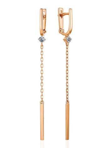 Бриллиантовые серьги с золотыми подвесками-цепочками, фото