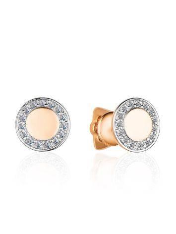 Круглые золотые серьги-гвоздики с бриллиантами, фото