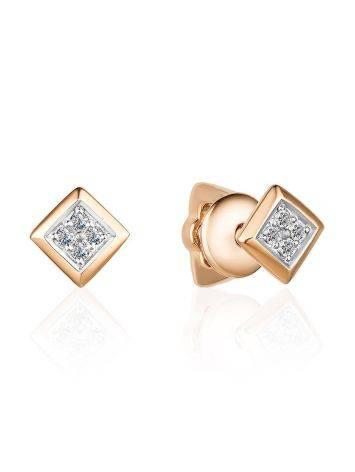 Квадратные бриллиантовые серьги-гвоздики в золоте, фото