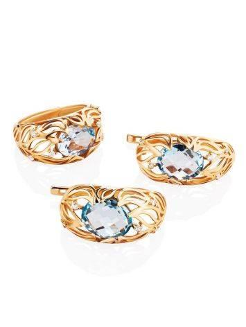 Эффектное золотое кольцо с топазом и фианитами, Размер кольца: 17, фото , изображение 5