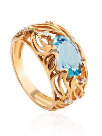 Эффектное золотое кольцо с топазом и фианитами, Размер кольца: 17, фото