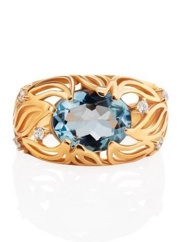 Эффектное золотое кольцо с топазом и фианитами, Размер кольца: 17, фото , изображение 4