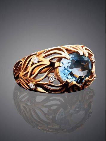 Эффектное золотое кольцо с топазом и фианитами, Размер кольца: 17, фото , изображение 2