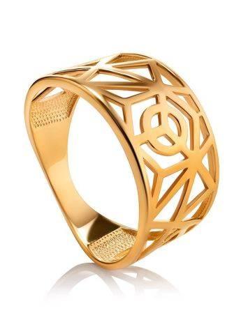 Яркое широкое позолоченное кольцо, Размер кольца: 17.5, фото