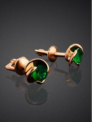 Небольшие золотые серьги-гвоздики с агатами, фото , изображение 2