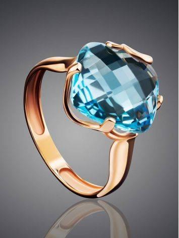 Объемное золотое кольцо с топазом необычной огранки, Размер кольца: 18.5, фото , изображение 2
