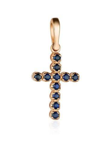 Золотой кулон-крестик с сапфирами, фото