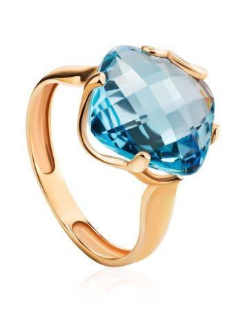 Объемное золотое кольцо с топазом необычной огранки, Размер кольца: 18.5, фото