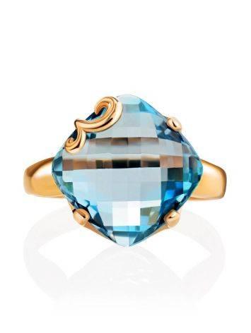 Объемное золотое кольцо с топазом необычной огранки, Размер кольца: 18.5, фото , изображение 5