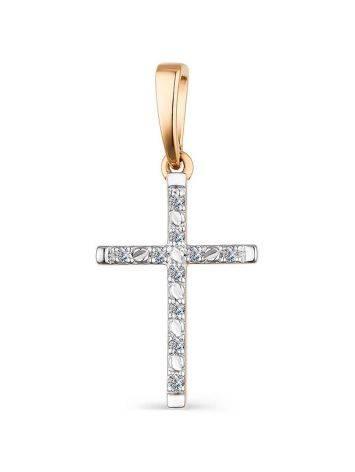 Золотой кулон-крестик с бриллиантами, фото