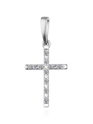 Подвеска-крестик из белого золота с бриллиантами, фото