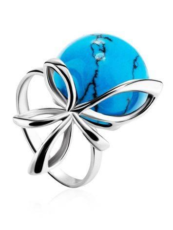 Яркое кольцо из серебра с бирюзой «Черри», Размер кольца: 17, фото