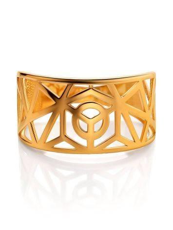 Яркое широкое позолоченное кольцо, Размер кольца: 17.5, фото , изображение 3
