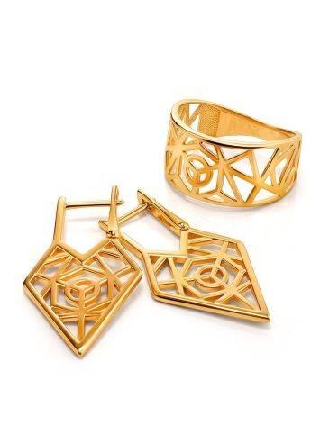 Нарядные геометричные позолоченные серьги, фото , изображение 3