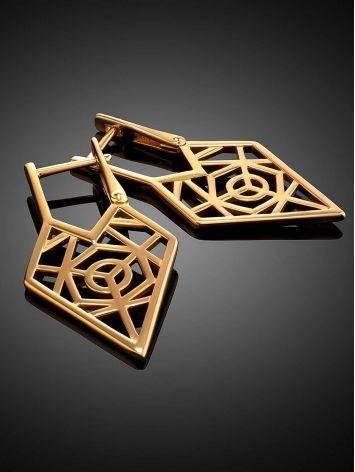 Нарядные геометричные позолоченные серьги, фото , изображение 2