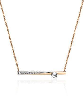Золотое колье с необычной бриллиантовой подвеской, фото