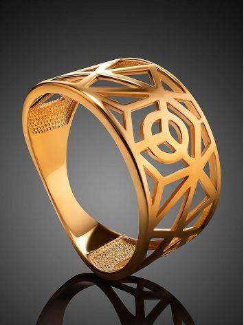 Яркое широкое позолоченное кольцо, Размер кольца: 17.5, фото , изображение 2