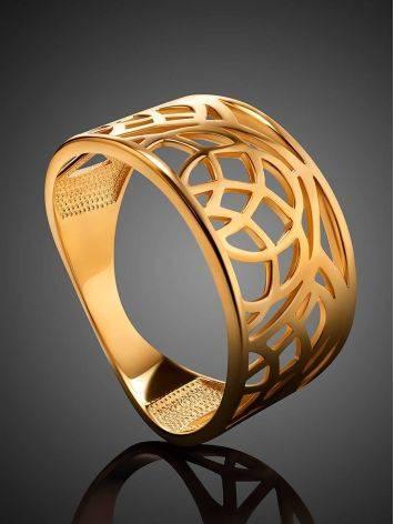 Эффектное широкое позолоченное кольцо, Размер кольца: 17.5, фото , изображение 2