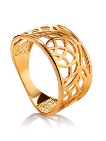 Эффектное широкое позолоченное кольцо, Размер кольца: 17.5, фото