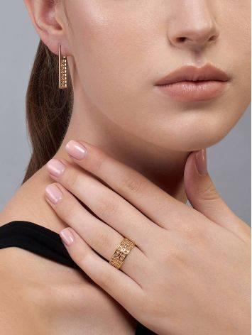 Яркое стильное кольцо из серебра в позолоте, Размер кольца: 17.5, фото , изображение 5