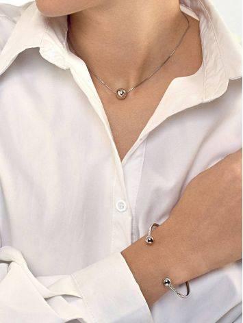 Стильный браслет-кафф из серебра Liquid, фото , изображение 4