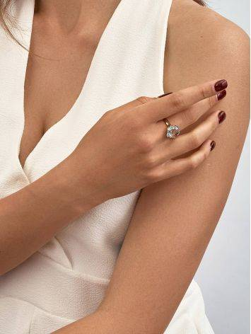 Объемное золотое кольцо с топазом необычной огранки, Размер кольца: 18.5, фото , изображение 3