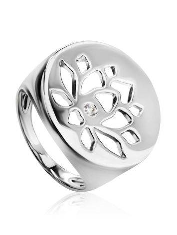 Серебряное кольцо-печатка с кристаллом Enigma, Размер кольца: 17, фото