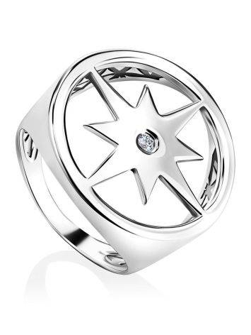 Эффектное кольцо-печатка из серебра Enigma, Размер кольца: 17, фото