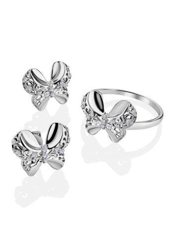 Нежные серебряные серьги-бантики с кристаллами, фото , изображение 3