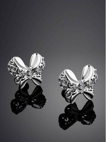 Нежные серебряные серьги-бантики с кристаллами, фото , изображение 2